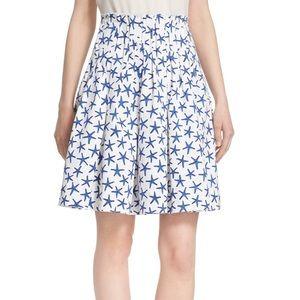 Kate Spade Blue &White Starfish Pleated Midi Skirt
